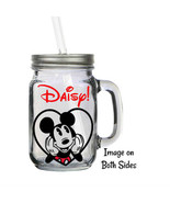 Personalized Disney Mickey Mouse Heart 16oz Glass Mason Jar Mug with Lid... - $16.99