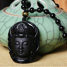 Lucky Buddha Pendant Natural Obsidian Black Carved Necklace - 1 x RANDOM image 6
