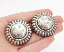 MEXICO 925 Sterling Silver - Vintage Fluted Dome Non Pierce Earrings - E... - $70.83