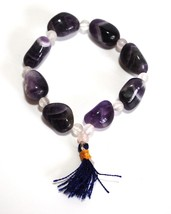 REIKI ENERGY CHARGED NATURAL AMETHYST CRYSTAL TUMBLE STONE BRACELET HEAL... - $8.86