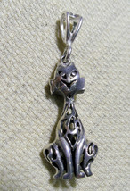 """925 STERLING SILVER BALI  CAT PENDANT 1 5/8 """" HALLMARKED  IN THE UK - $35.63"""
