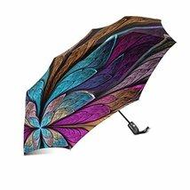 InterestPrint Vintage Elegant Fractal Flower Windproof Automatic Folding... - $25.73