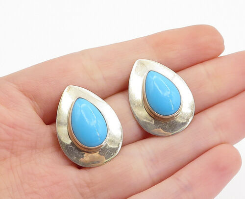 Primary image for SE NAVAJO 925 Silver - Vintage Cabochon Cut Turquoise Tear Drop Earrings - E9370