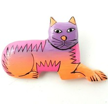Large Vintage 1980's Hand Carved & Painted Balsa Wood Cat Brooch Pin Fol... - $39.99