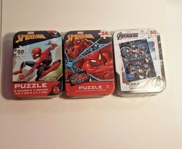 Marvel Spider Man Avengers Mini Jigsaw Puzzles in Tins 2 Pk 24 and 50 Pc... - $19.79