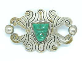 Iguala Mexico Moc Sterling & Carved Green Onyx Tribal Effigy Face Brooch Pin - $49.49
