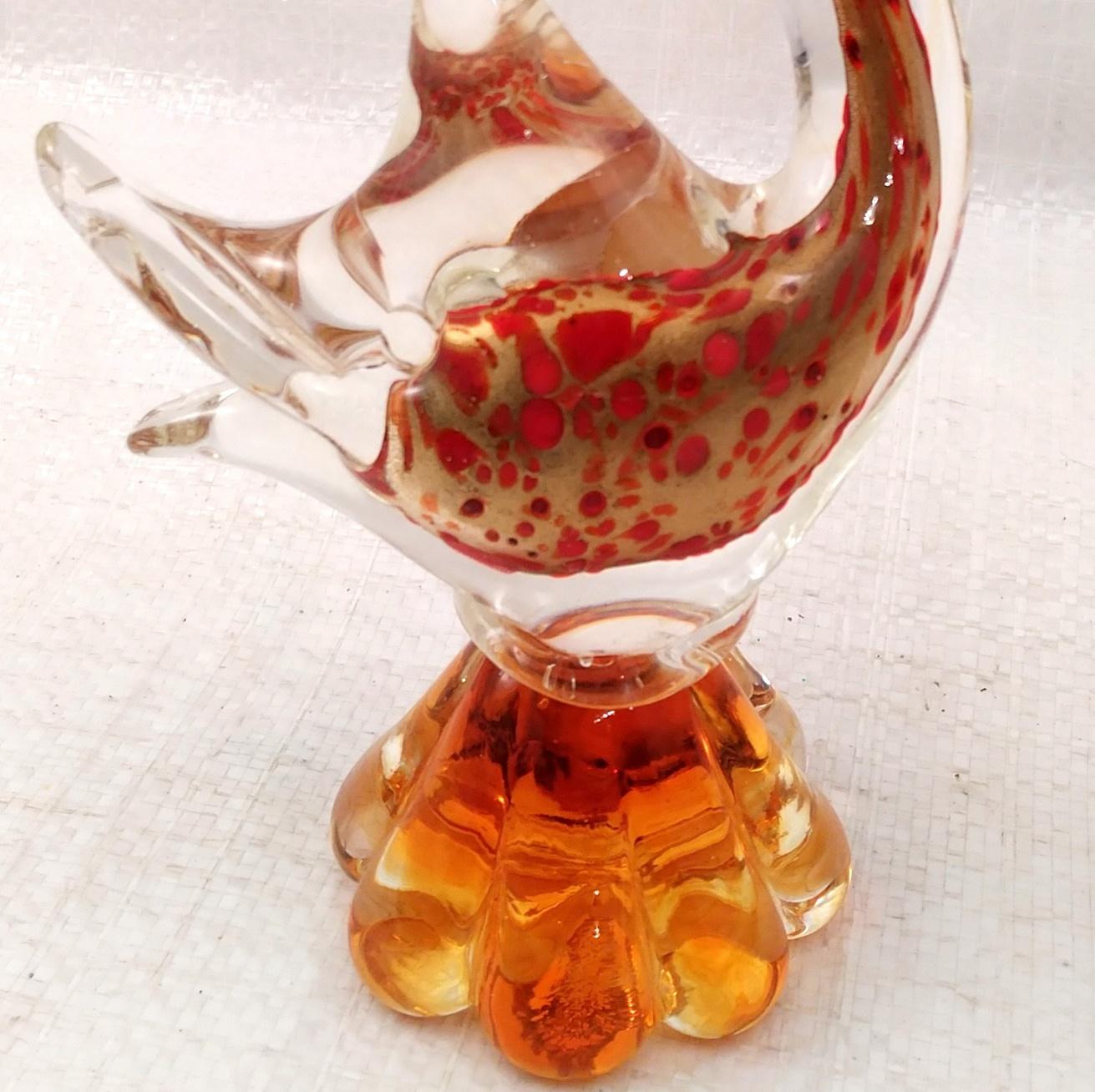 Vintage J.I. CO. HANDMADE VENETIAN GLASS FISH w/ Gondola Label