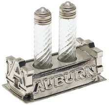 ARTHUR COURT AUBURN/TIGER SALT & PEPPER SET CAST ALUMINIUM SILVER MADE I... - $44.65