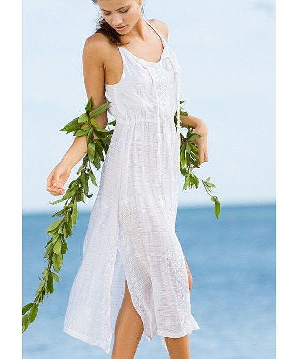 $278 Letarte Swimsuit Coverup Dress Calm Waves Chnl Neck Slit XL NWT Extra Large