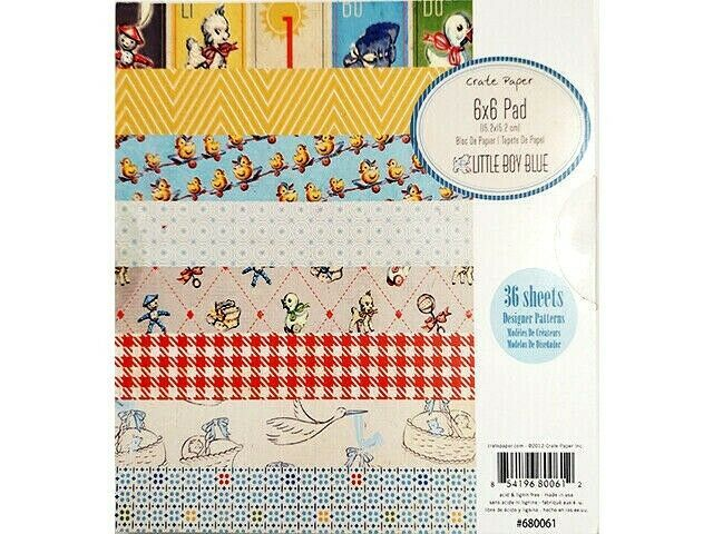 """Crate Paper Little Boy Blue 6x6"""" Paper Pad, 36 Pages, Cardstock, Cards"""