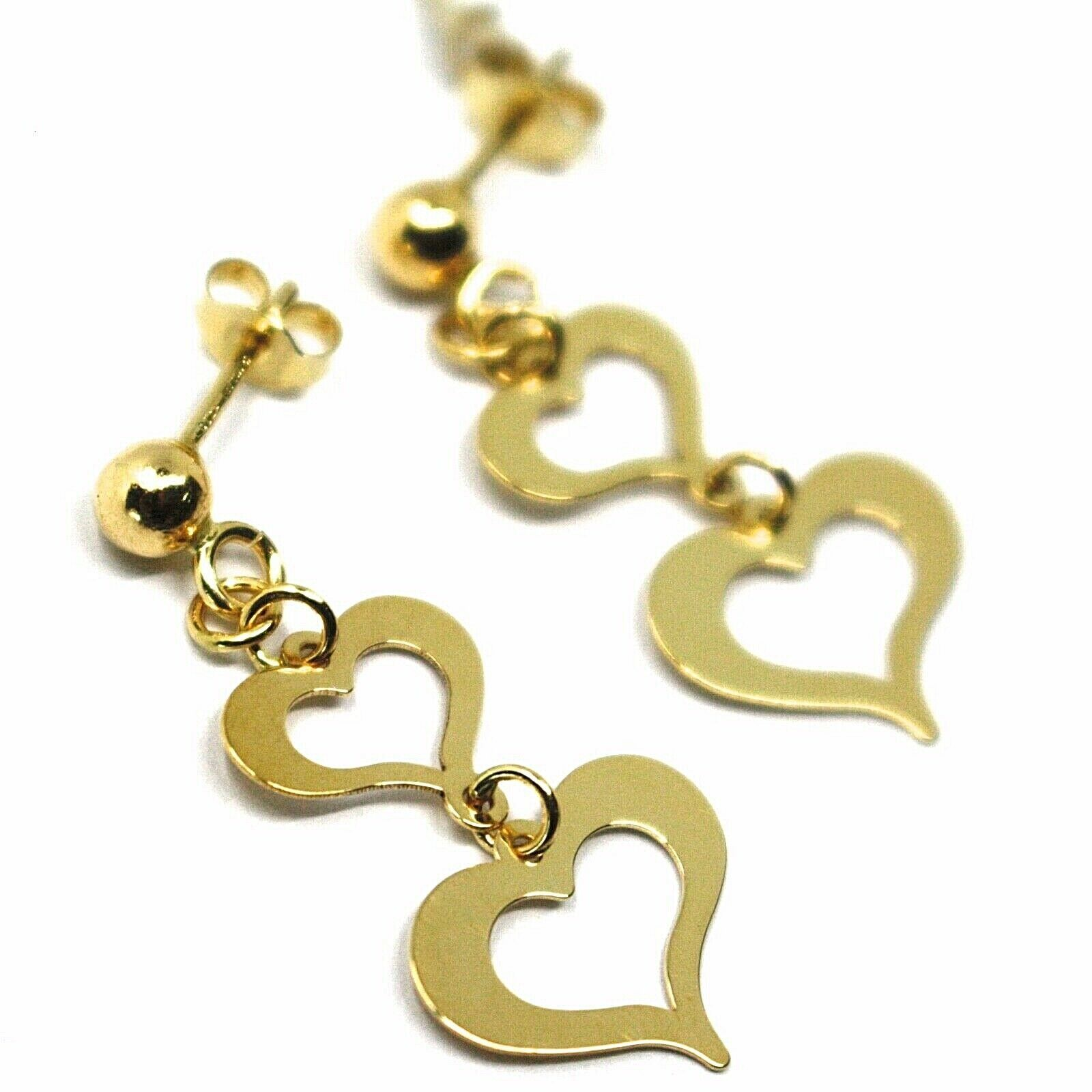 18K YELLOW GOLD PENDANT EARRINGS, DOUBLE FLAT HEARTS, 3cm, 1.2 INCHES