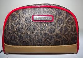 New Womens Calvin Klein Ck Travel Zip Cosmetic Case Brown Tan & Red - $54.40