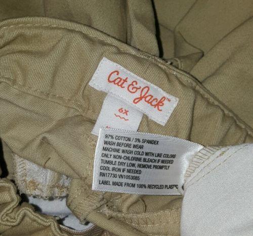 Cat & Jack Boys Stretch Khaki Tan Pants NWT Sz 6X Adjustable Waist