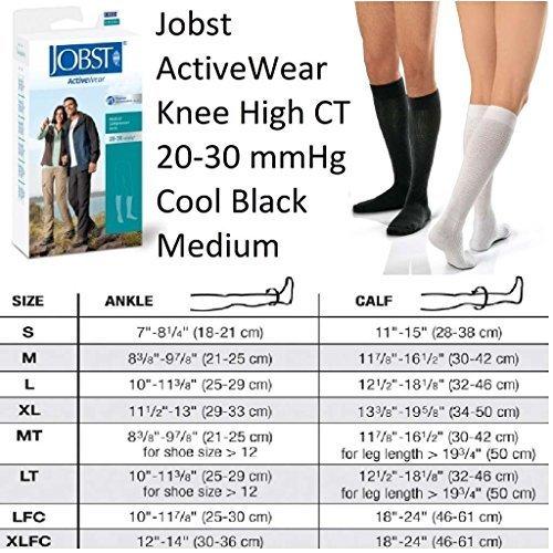 fb72aff22d JOBST Activewear Compression Socks, 20-30 mmHg, Knee High, Medium, Black