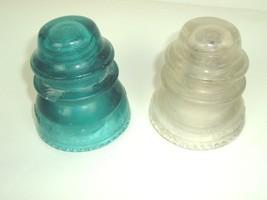 Lot of 2 Vtg Hemingray 42 Blue-Green Aqua & Clear Glass Insulators Made ... - $5.99