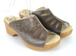 Dansko Studded Brown Leather Sandals Open Toe Clogs Chunky Womens 39 US ... - $34.64