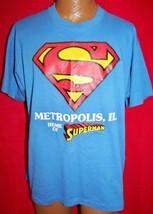 Vintage Metropolis Illinois Home Of Superman 50/50 T-SHIRT Xl Dc Comic Book Hero - $19.99