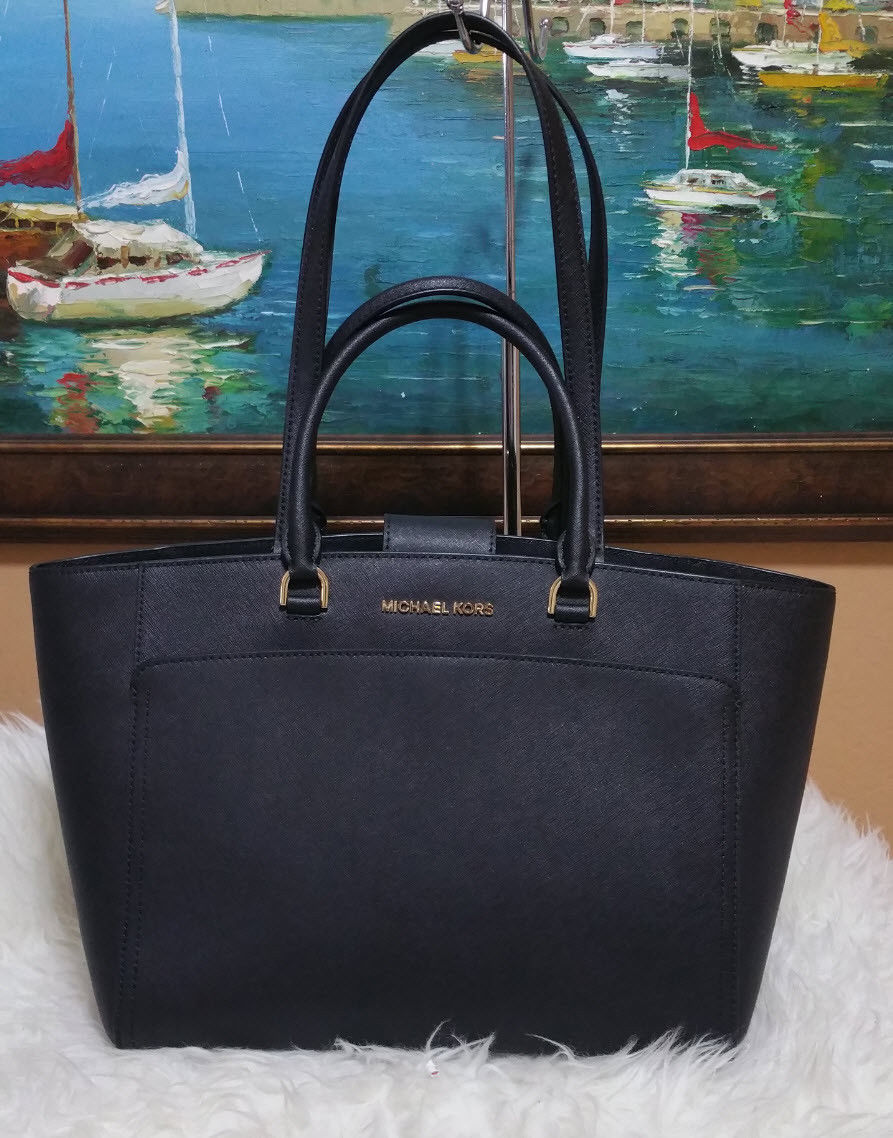 08ae58e1d9f9 MICHAEL KORS EMMY LARGE DOUBLE HANDLE TOTE BAG Black Purse Laptop Travel  GYM NWT