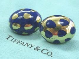 Tiffany & Co 18Kt Positive Negative Lapis Yellow Gold Earrings  - $4,207.50