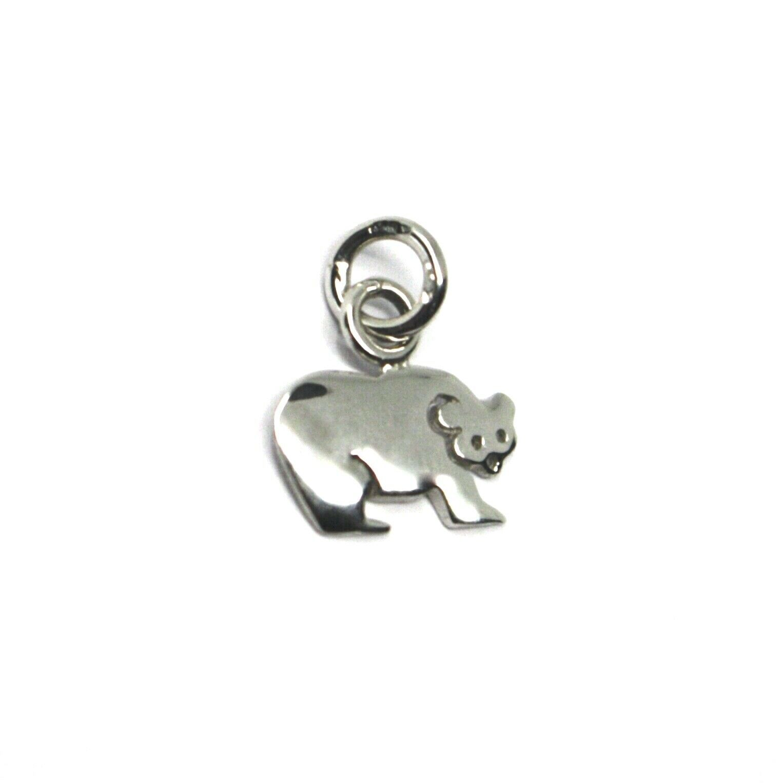 18K WHITE GOLD MINI BEAR PENDANT 11mm DIAMETER, FLAT SOLID, SMOOTH MADE IN ITALY