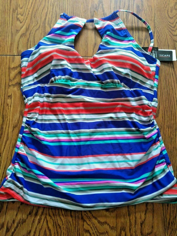 Island Escape Horizon Tankini W/Shirring Top Size 14