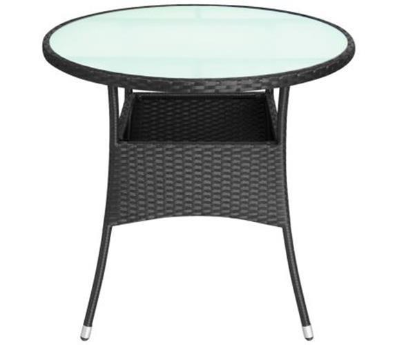 Primary image for Garden Round Table With Glass Tabletop Waterproof Poly Rattan Outdoor Patio New