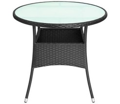 Garden Round Table With Glass Tabletop Waterproof Poly Rattan Outdoor Patio New - $106.95