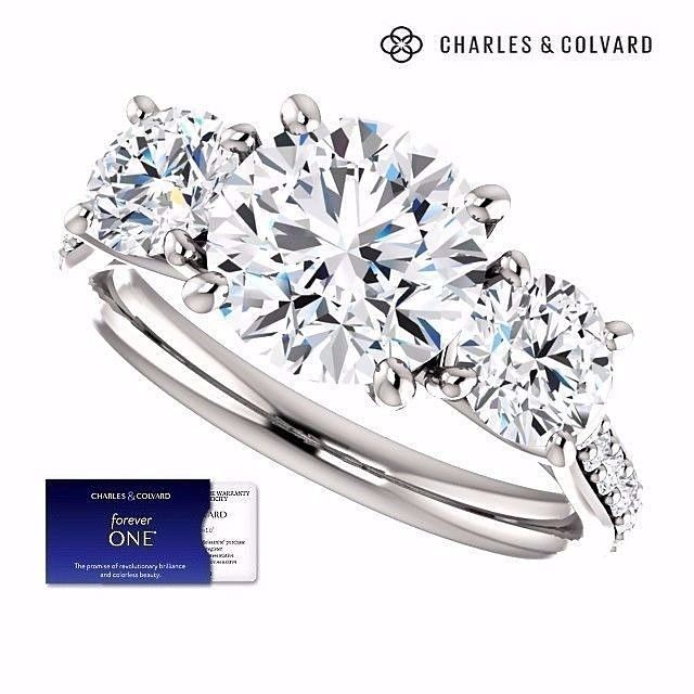 3.50 Carat Round Forever One Moissanite Three Stone Ring (Charles&Colvard)