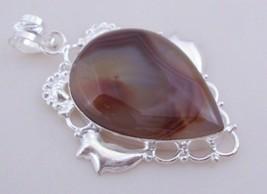 Botswana Agate Silver Overlay Handmade Pendant Jewelry 16 Gr. F-391 - $4.87