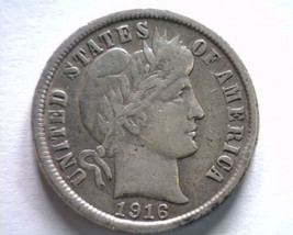 1916 BARBER DIME EXTRA FINE XF EXTREMELY FINE EF NICE ORIGINAL COIN BOBS... - $29.00