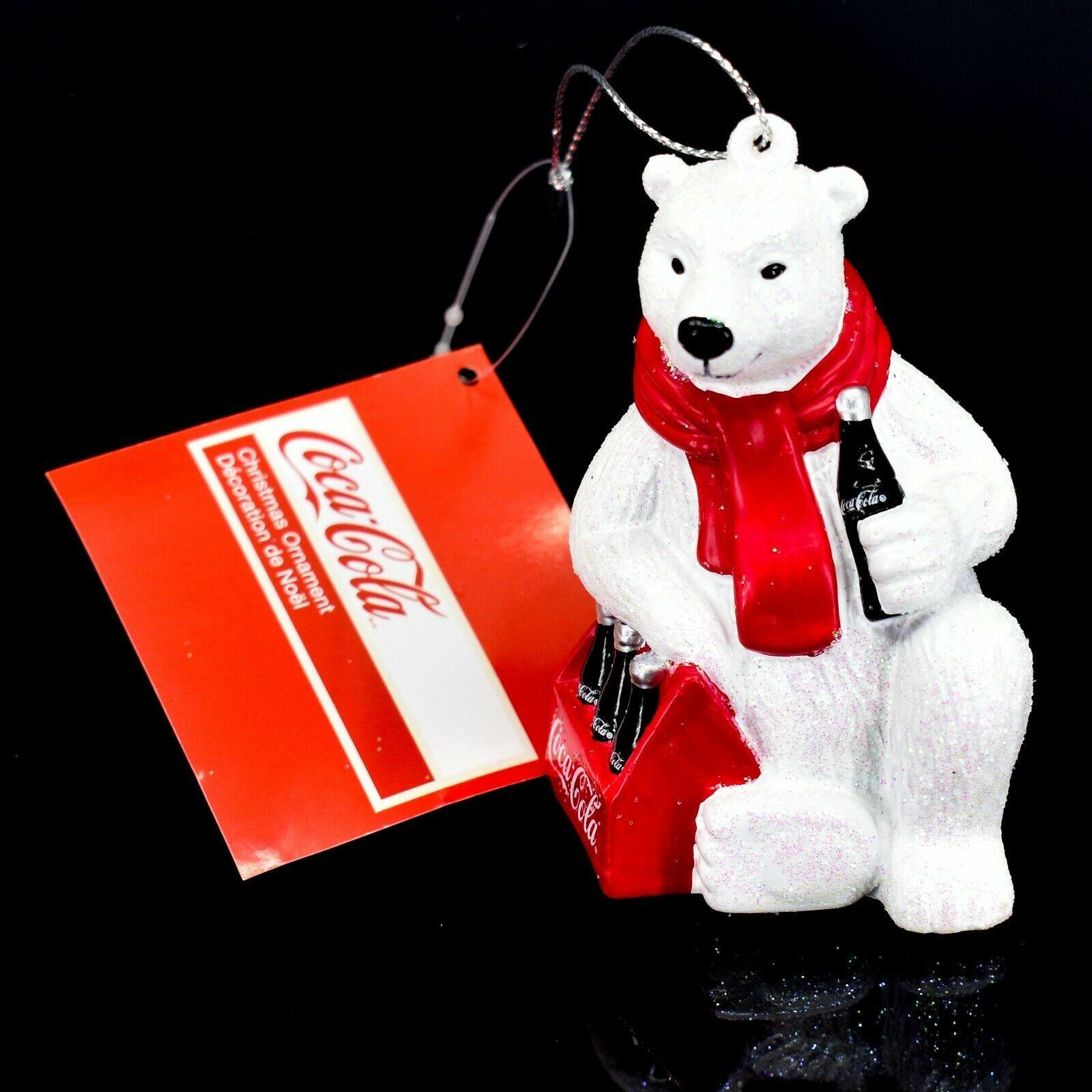 "Kurt S. Adler Coca-Cola Glitter Polar Bear w Coke Case 3.5"" Christmas Ornament"