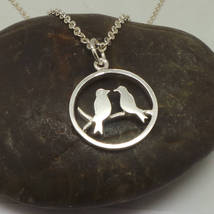 Handmade 925 Silver Mother and Child Birds on Branches Necklace Pendant - $42.00