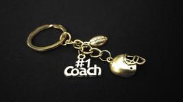 #1 TEACHER - FOOTBALL COACH Silver Metal Charm Keychain Key Ring Unique ... - $8.00