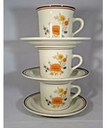 Cups & Saucers 3 Stoneware Orange- Flower Plain Saucer Summer Garden Exc... - $11.88