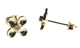 NEW Kevia 18K Gold Plated Cubic Zirconia Crystal Floral Post Stud Earrings NWT image 2