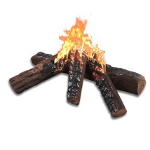 4 PCS Rustic-look Ceramic Fireplace Stoves Wood Like Firepit Log Set Dec... - $43.17