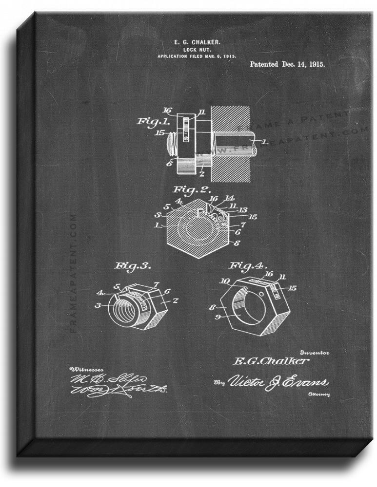 Primary image for Locknut Patent Print Chalkboard on Canvas