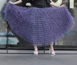 Tiered Tulle Maxi Skirt in Purple Violet Gray Tulle Layered Skirt for Adults  image 8
