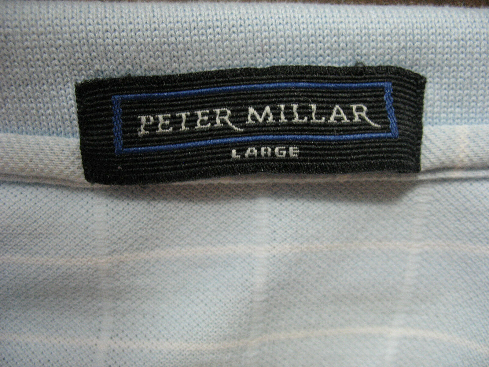 Peter Millar Mens Large Blue Window Pane Cotton Polo Shirt Short Sleeve image 6