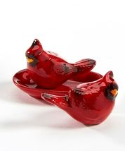 Cardinal Bird Design Salt & Pepper Shakers Set with Oval Tray Red Ceramic image 3