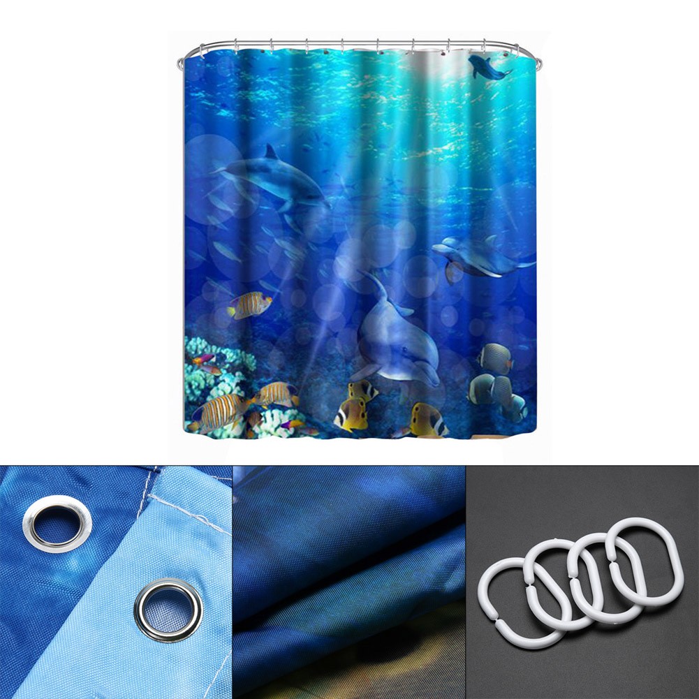 2017  3D Underwater World Dolphin Shower Curtain 3D Printing Shower Door Curtain