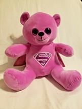 Six Flags Supergirl Superman Bear Purple Cape Glitter Plush Stuffed Animal  - $24.73