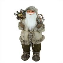 "Northlight 32"" Alpine Chic Beige Brown Burlap Corduroy Santa Snowshoes G... - $73.00"