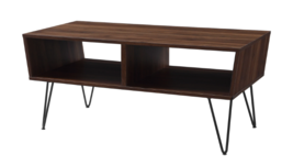 Mid Century Modern Coffee Table Vintage Style Storage Dark Medium Wood W... - $223.97