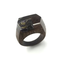 Handcrafted ring made from exotic wood and raw Purple Fluorite crystals - $86.00