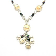 Necklace the Aluminium Long 48 Inch with Seashells Hematite and White Pearls image 2