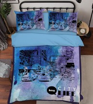 3D City Picture Bed Pillowcases Quilt Duvet Cover Set Single Queen King Size AU - $90.04+