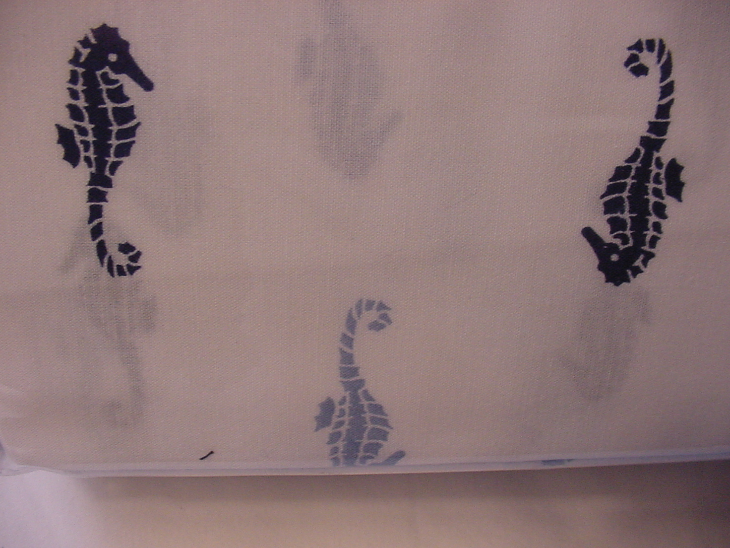 Tommy Hilfiger Blue and Navy Seahorses on White Sheet Set Queen