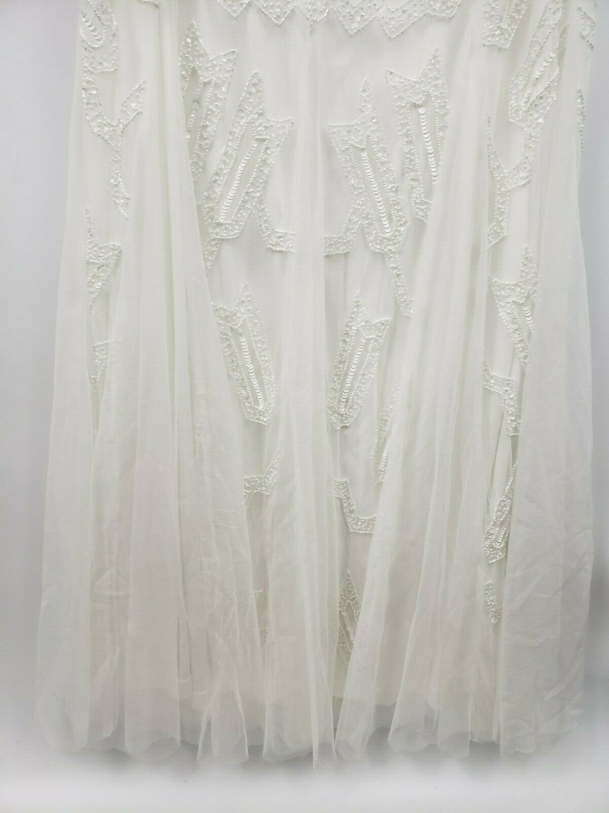 Adrianna Papell Women's Floral Sequined Beaded Mermaid Gown Dress White Size 12
