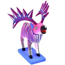 "Handmade Alebrijes Oaxacan Painted Carved Wood Folk Art Hot Pink Elk 7"" Figure image 5"